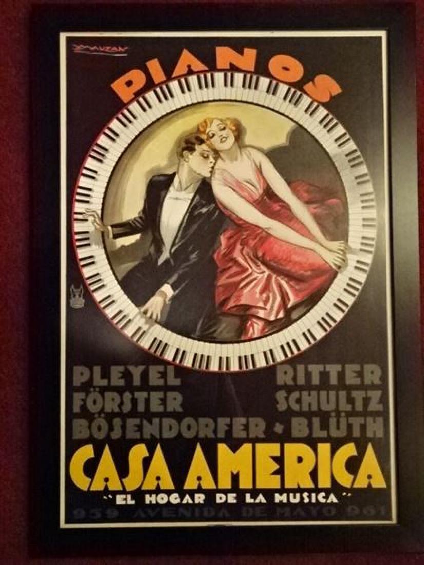 CASA AMERICA PIANOS REPLICA ADVERTISING PRINT, ORIGINAL