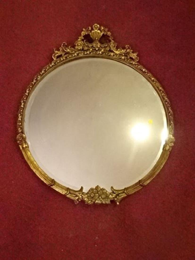 ROUND GILT WOOD GESSO FRAMED MIRROR, FOLIATE AND FLORAL