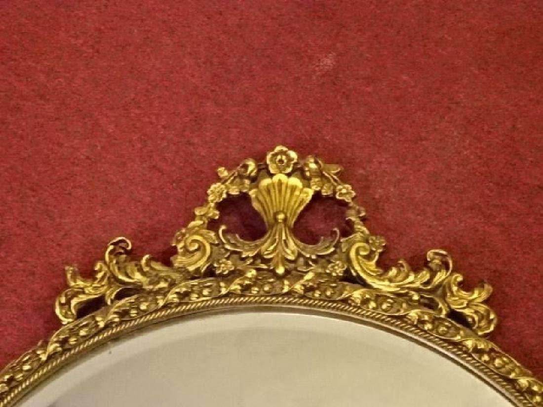 ROUND GILT WOOD GESSO FRAMED MIRROR, FOLIATE AND FLORAL - 2