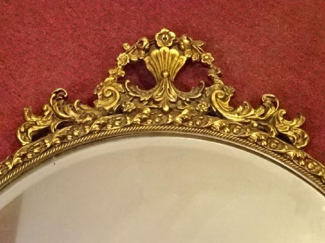 ROUND GILT WOOD GESSO FRAMED MIRROR, FOLIATE AND FLORAL - 3