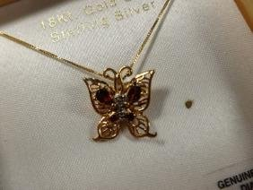 GARNET & DIAMOND BUTTERFLY PENDANT NECKLACE, 18KT GOLD