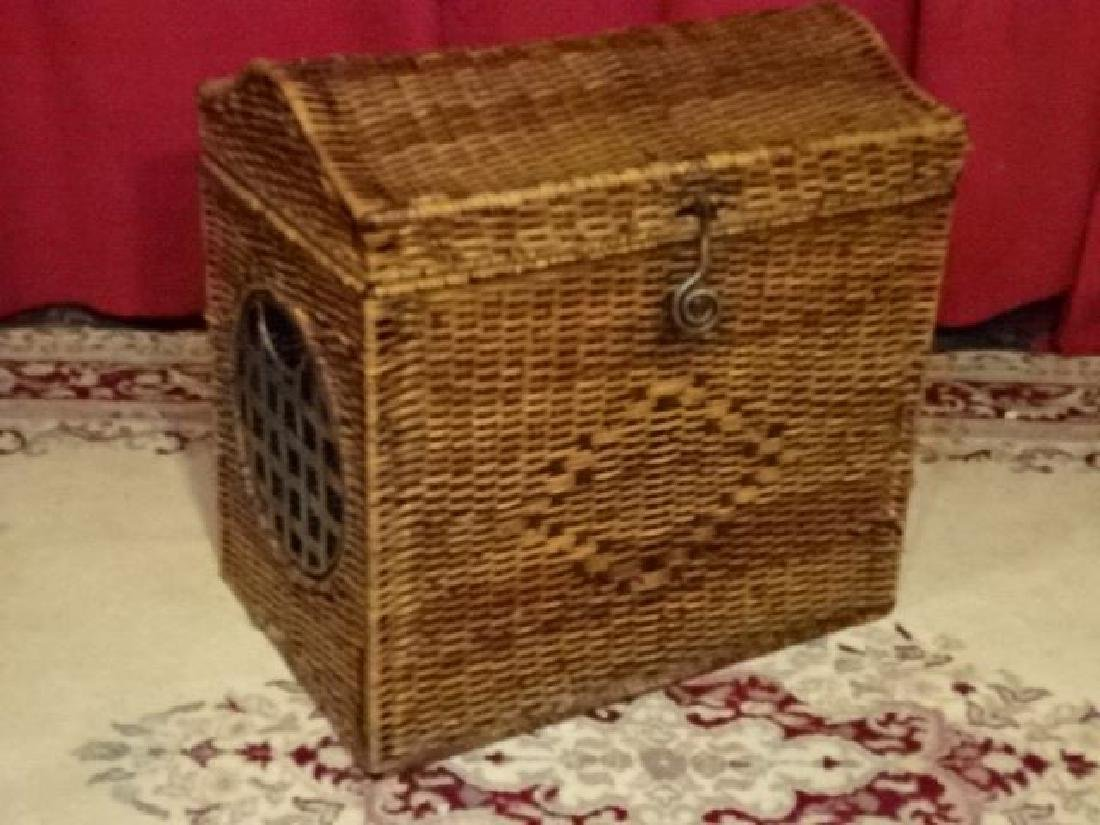 "LARGE WICKER AND METAL CHEST, GOOD CONDITION, 22""W X"