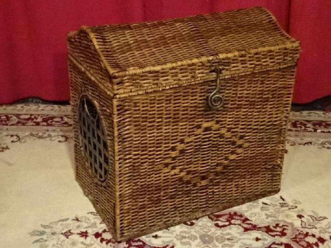 "LARGE WICKER AND METAL CHEST, GOOD CONDITION, 22""W X - 2"