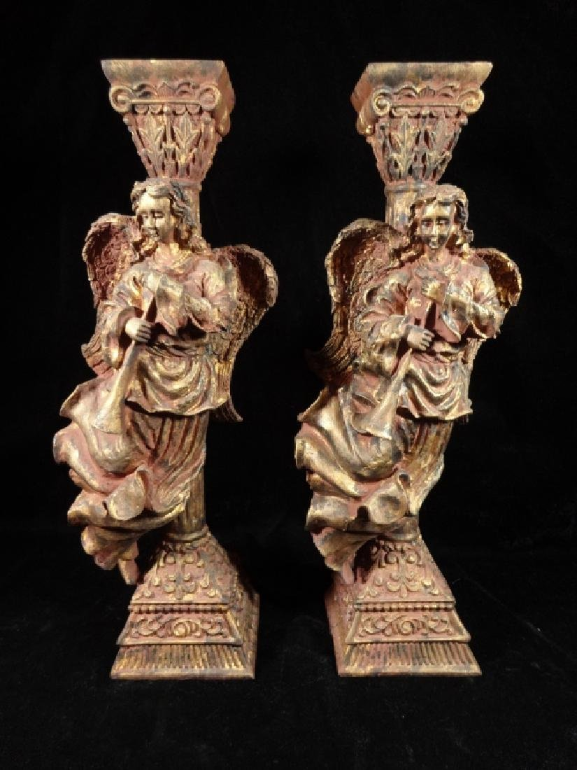 PAIR HERALDIC ANGEL CANDLESTICKS, COMPOSITION, APPROX