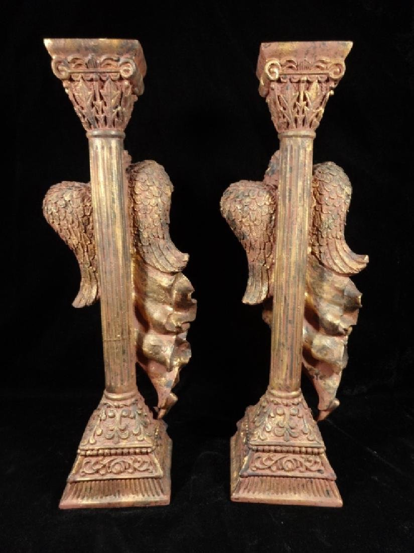 PAIR HERALDIC ANGEL CANDLESTICKS, COMPOSITION, APPROX - 5