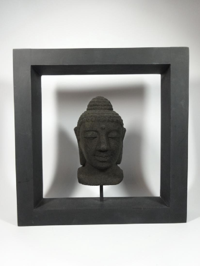 BUDDHA HEAD SCULPTURE, COMPOSITE, IN BLACK FRAME, SOME
