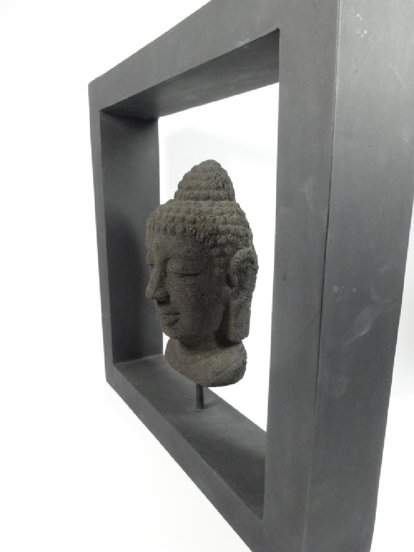 BUDDHA HEAD SCULPTURE, COMPOSITE, IN BLACK FRAME, SOME - 4