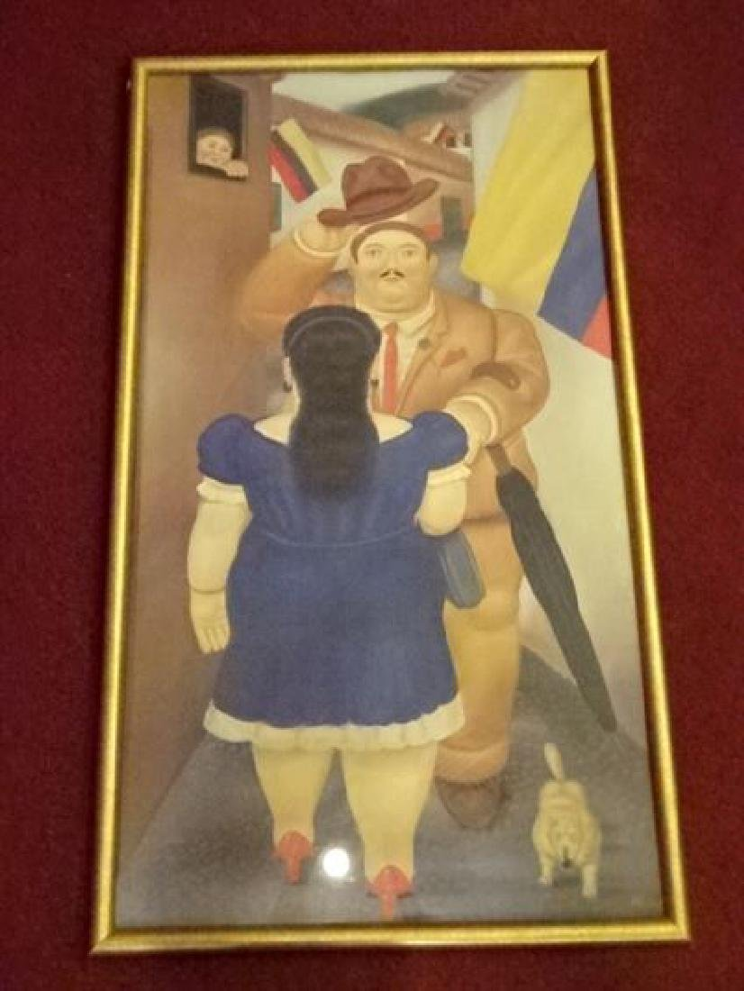 FERNANDO BOTERO FRAMED PRINT, MAN GREETING LADY IN BLUE