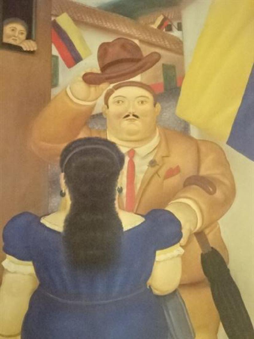 FERNANDO BOTERO FRAMED PRINT, MAN GREETING LADY IN BLUE - 2