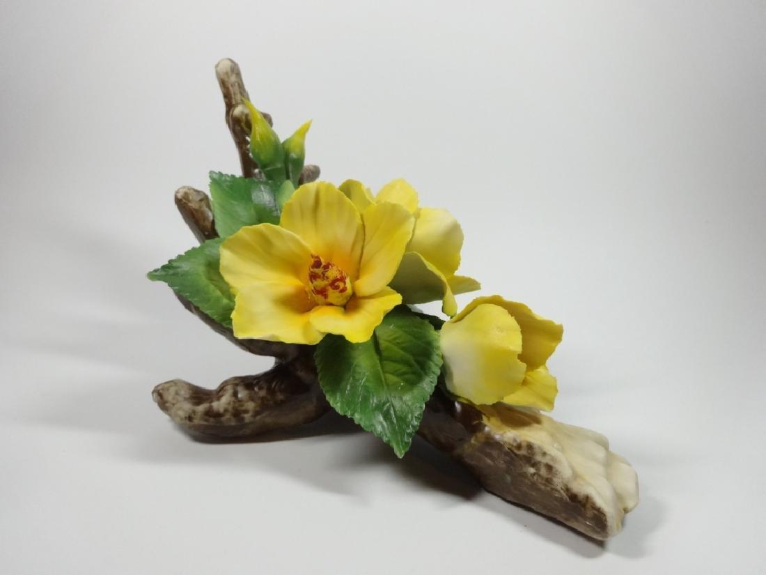 CAPODIMONTE PORCELAIN FLOWERS, YELLOW HIBISCUS, APPROX