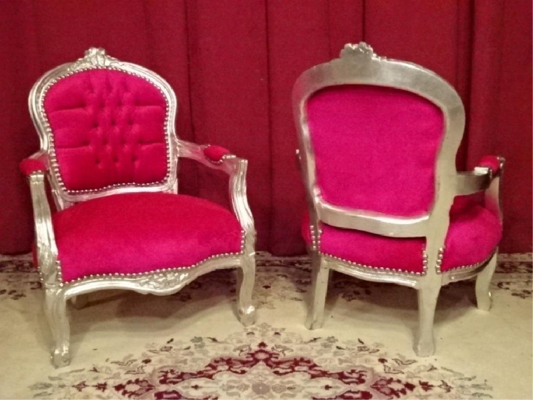 PAIR CHILD SIZE LOUIS XV STYLE ARM CHAIRS, SILVER GILT - 6