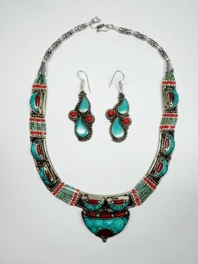 3 PC TIBETAN TURQUOISE & CORAL JEWELRY SET, INCLUDES