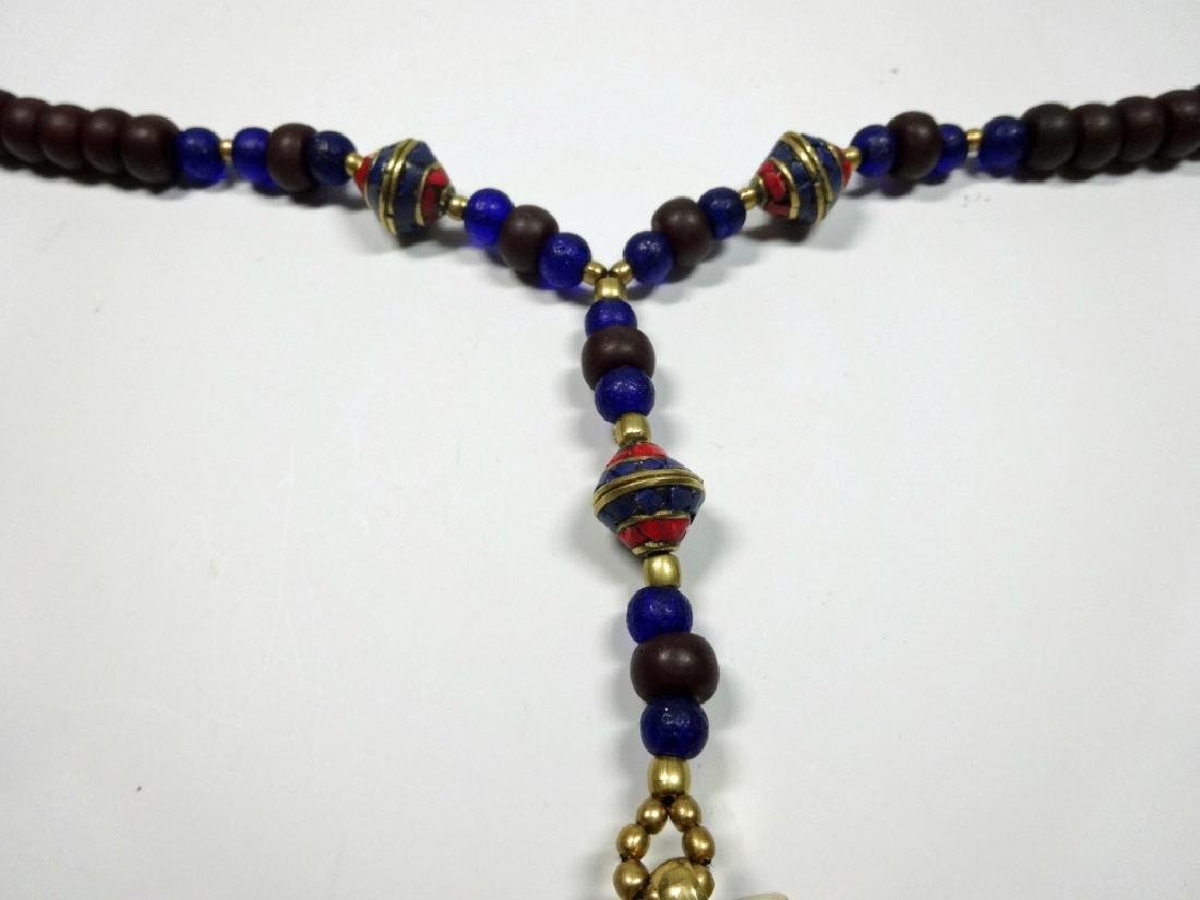 "TIBETAN NECKLACE WITH LAPIS & CORAL, APPROX 27""L, - 6"