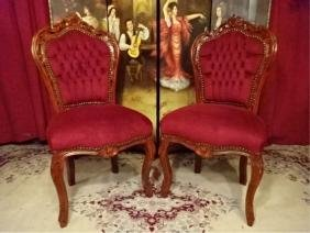 PAIR LOUIS XV STYLE CHAIRS, RED VELVET UPHOLSTERY,