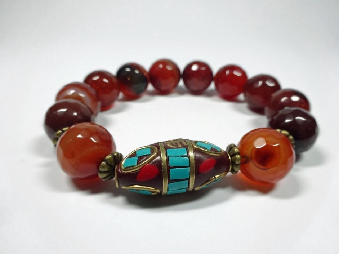 FACETED CORAL BEAD STRETCH BRACELET, TURQUOISE & CORAL