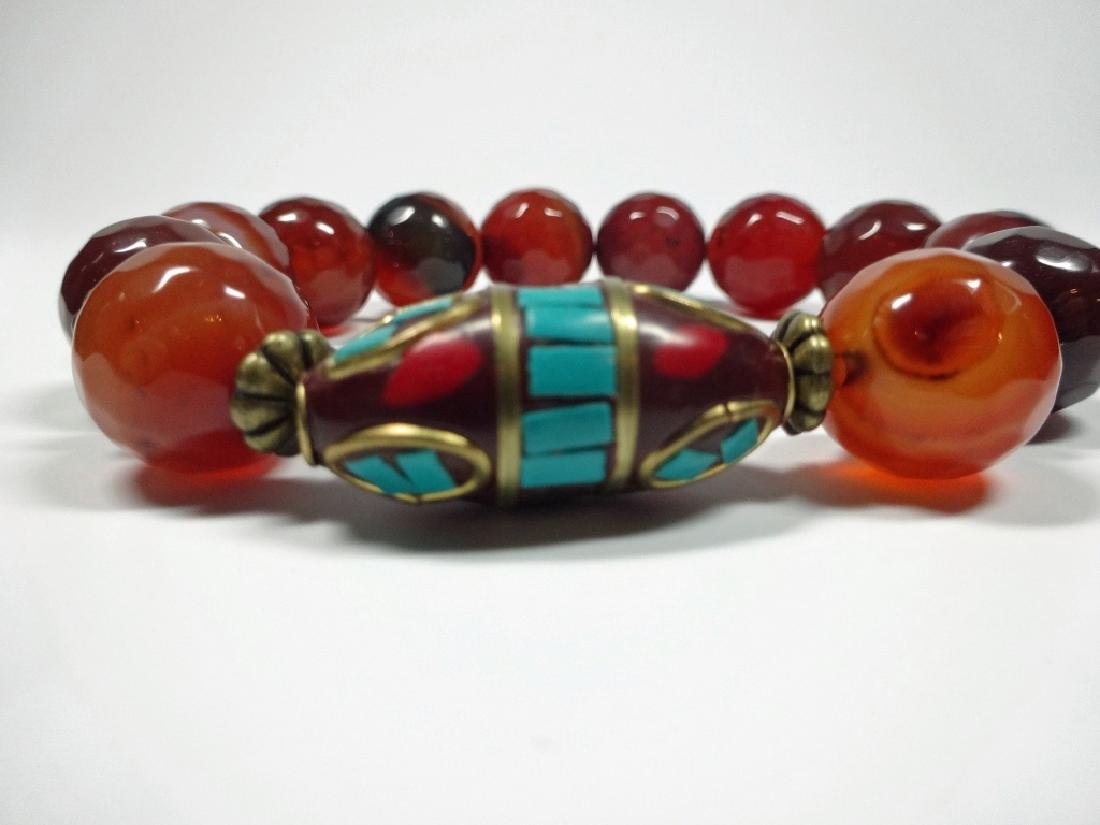 FACETED CORAL BEAD STRETCH BRACELET, TURQUOISE & CORAL - 3