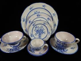134 PC BLUE & WHITE MAJOLICA CHINA SERVICE, MADE IN