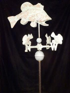 LARGE METAL WEATHERVANE, FISH MOTIF, EXCELLENT