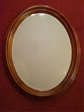 OVAL WOOD FRAME MIRROR, DARK FINISH, VERY GOOD