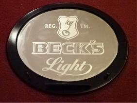 BECK'S BEER MIRRORED BAR SIGN WITH COAT HOOKS AND