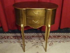 LOUIS XV STYLE GOLD GILT TABLE, KIDNEY SHAPE, 2 DRAWERS