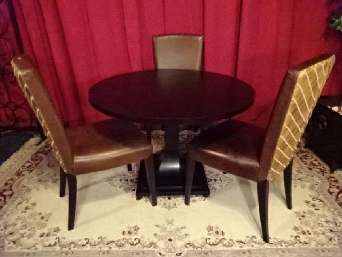 4 PC DINING SET, HENREDON PEDESTAL TABLE AND 3 LEATHER - 2