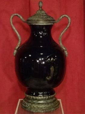 THEODORE ALEXANDER BRONZE AND PORCELAIN URN, BLACK