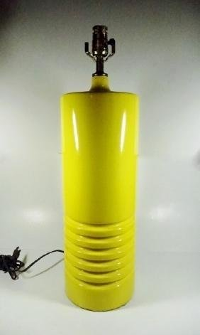 1970's MODERN CERAMIC TABLE LAMP, YELLOW, CYLINDRICAL