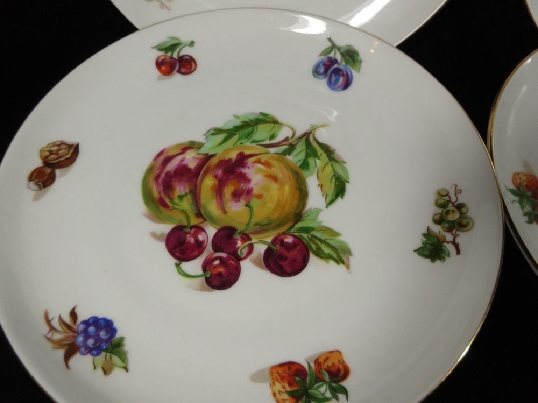 7 PC PORCELAIN FRUIT PLATES, MARKED FINE BOHEMIAN CHINA - 7