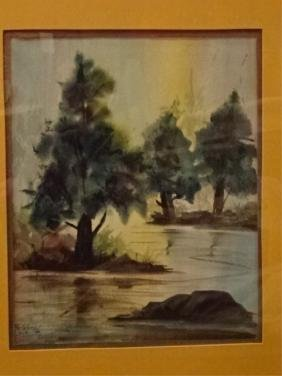 WATERCOLOR ON PAPER PAINTING, LANDSCAPE WITH RIVER,