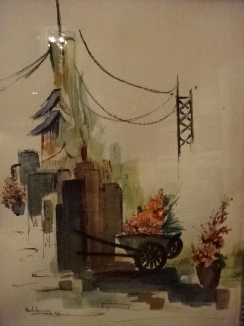 WATERCOLOR ON PAPER PAINTING, STREET SCENE WITH - 3