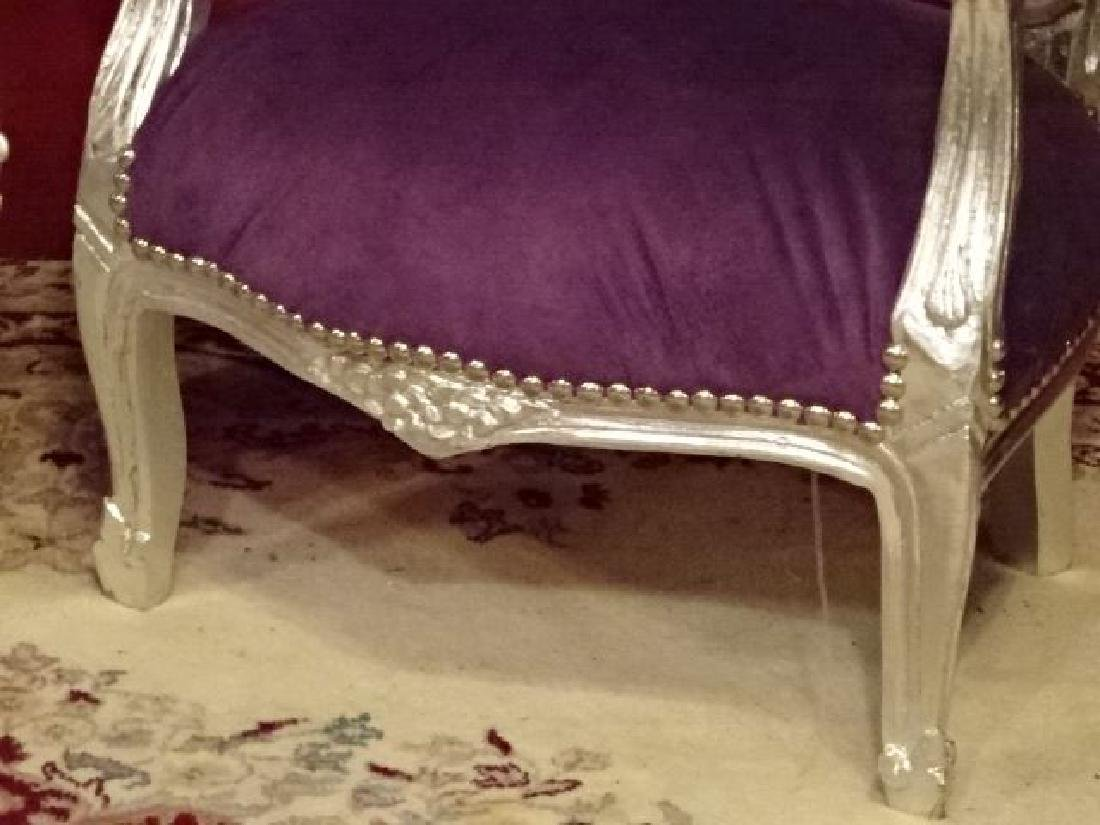 PAIR CHILD SIZE LOUIS XV STYLE ARM CHAIRS, SILVER GILT - 5