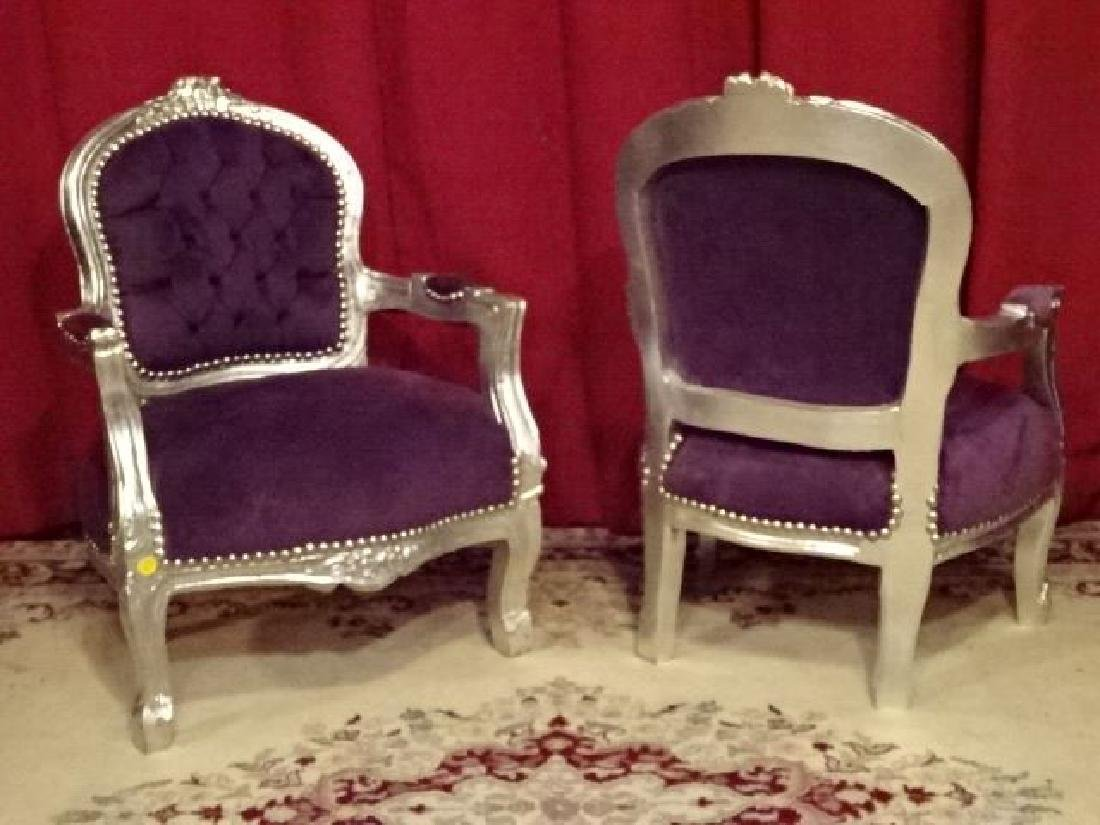 PAIR CHILD SIZE LOUIS XV STYLE ARM CHAIRS, SILVER GILT - 7