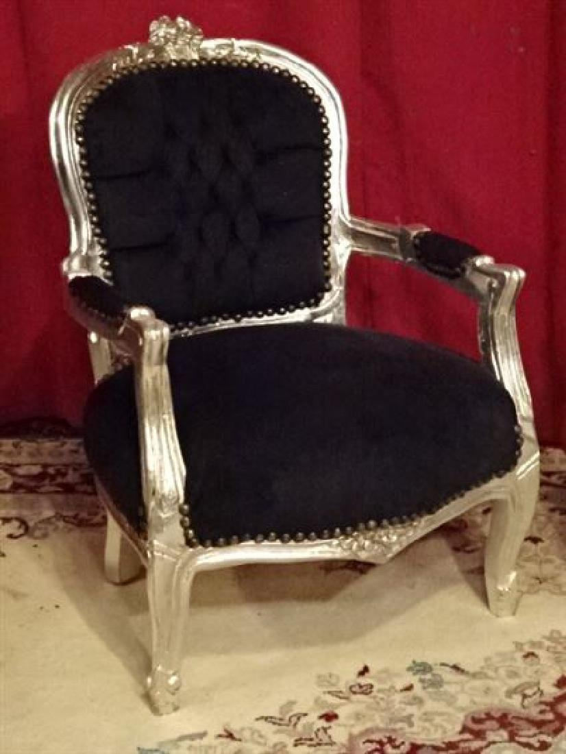 PAIR CHILD SIZE LOUIS XV STYLE ARM CHAIRS, SILVER GILT - 2