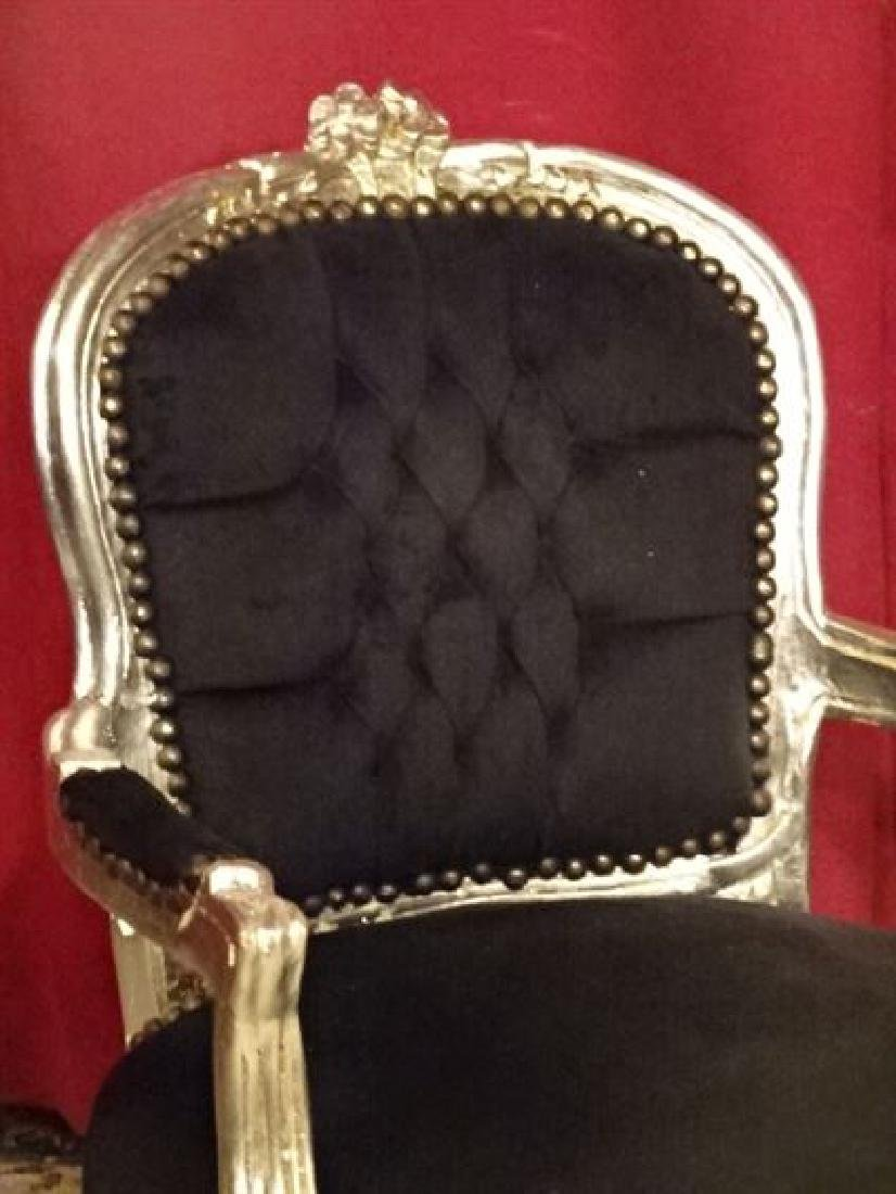 PAIR CHILD SIZE LOUIS XV STYLE ARM CHAIRS, SILVER GILT - 4