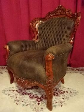 LOUIS XIV STYLE BERGERE ARM CHAIR, COCOA SUEDED TUFTED