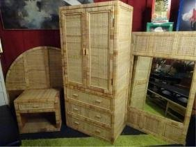 "4 PC RATTAN AND WOOD QUEEN BEDROOM, INCLUDES 61""W"
