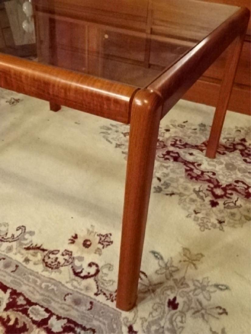 DANISH MODERN TEAK TABLE, GLASS INSET TOP, VERY GOOD - 2