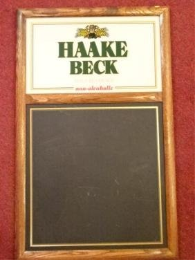 HAAKE BECK VINTAGE BAR SIGN WITH BLACK BOARD, WOOD
