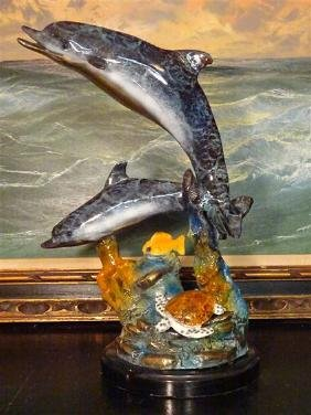 LARGE BRONZE DOLPHIN SCULPTURE, 2 PATINATED BRONZE