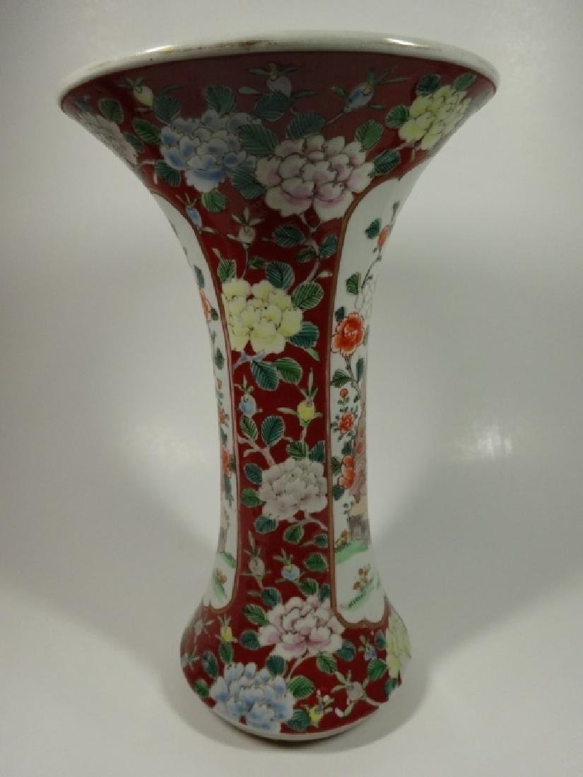 ASIAN PORCELAIN VASE, RED BORDER WITH FOO LION, - 4