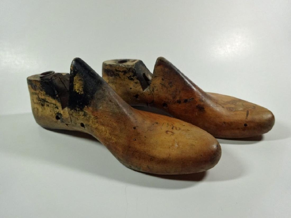 2 VINTAGE SHOE LASTS, ONE MARKED MAY 1949, LARGEST
