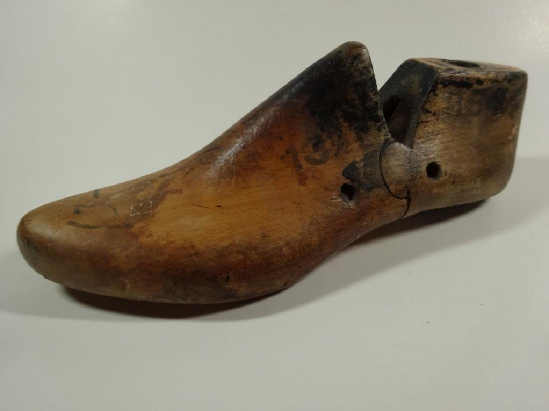 2 VINTAGE SHOE LASTS, ONE MARKED MAY 1949, LARGEST - 2