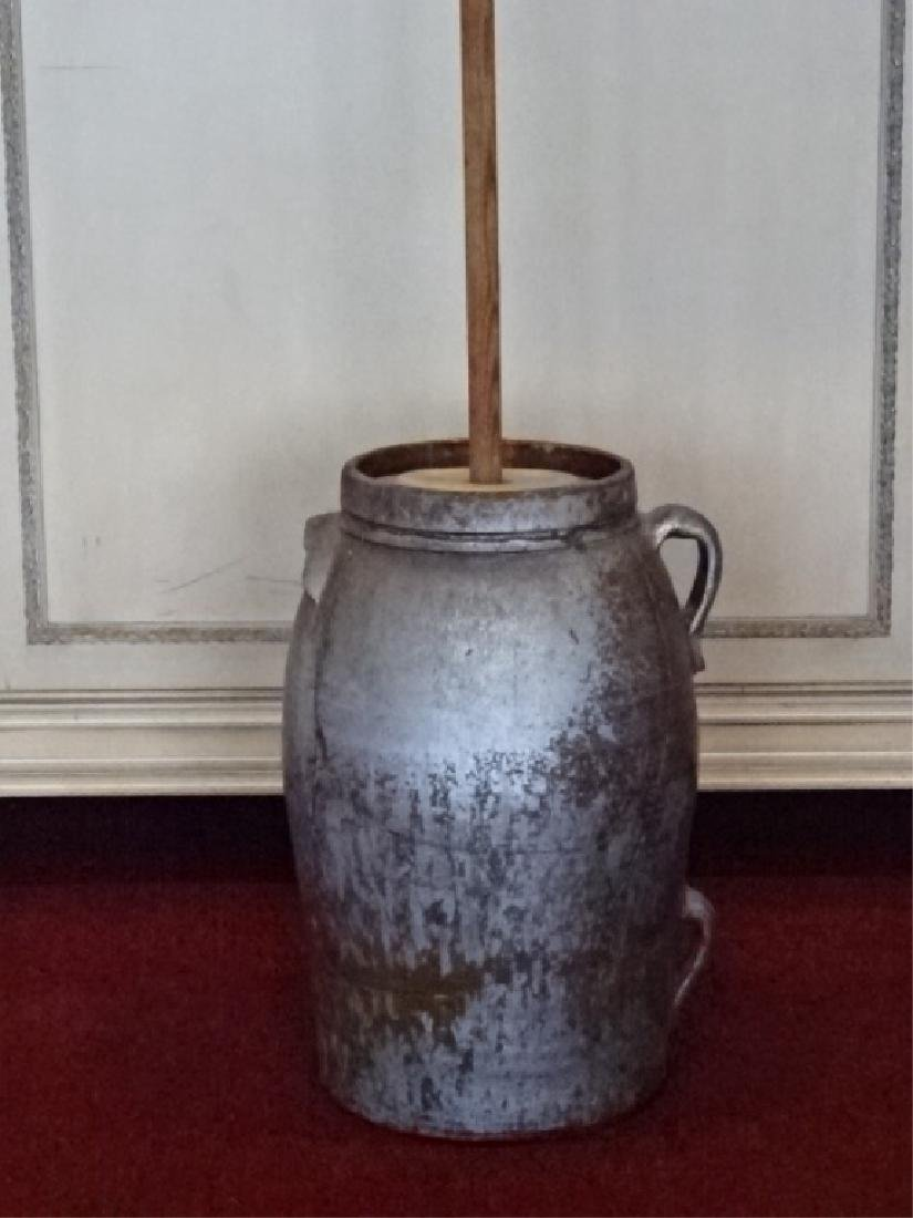 19TH C. POTTERY AND WOOD BUTTER CHURN, GOOD CONDITION,