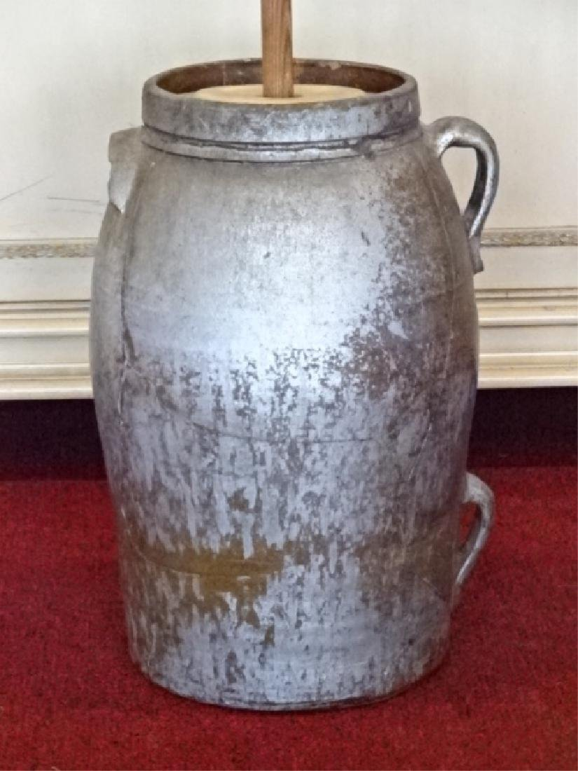 19TH C. POTTERY AND WOOD BUTTER CHURN, GOOD CONDITION, - 3