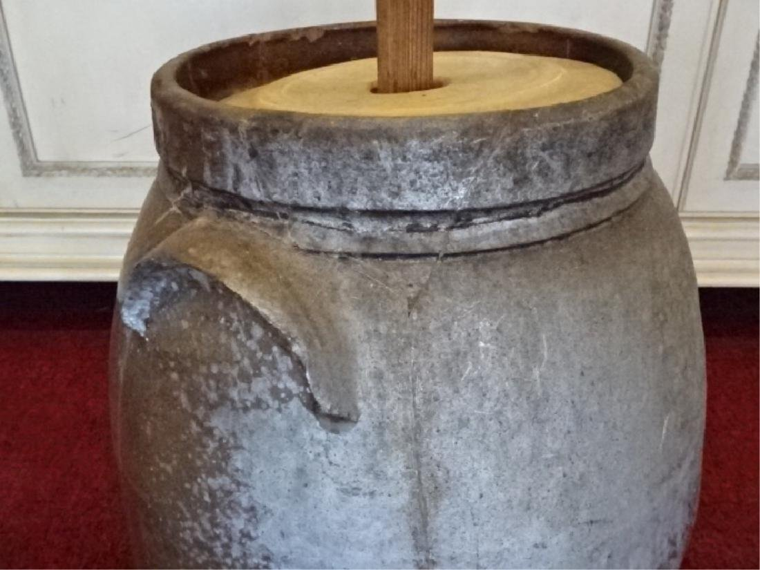 19TH C. POTTERY AND WOOD BUTTER CHURN, GOOD CONDITION, - 7