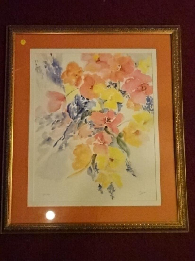"FLORAL STILL LIFE LITHOGRAPH, PENCIL SIGNED ""TINA"""