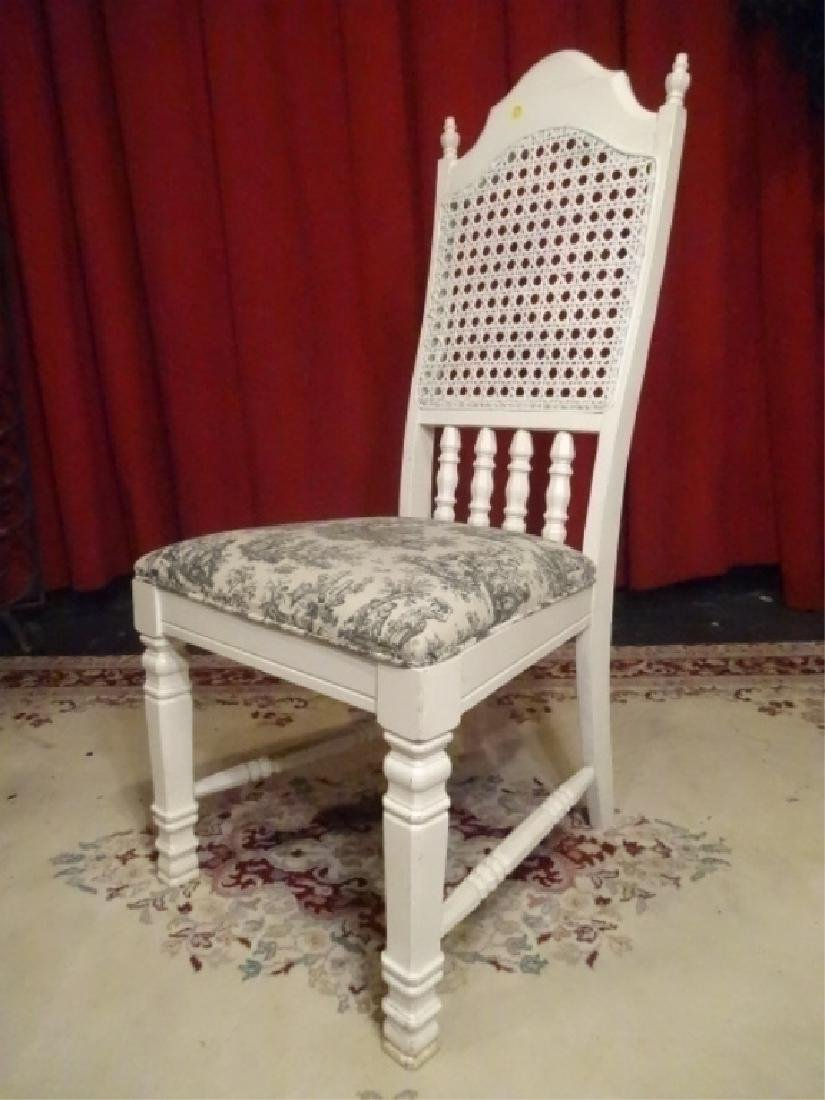 WHITE PAINTED SIDE CHAIR, TOILE BLACK AND WHITE