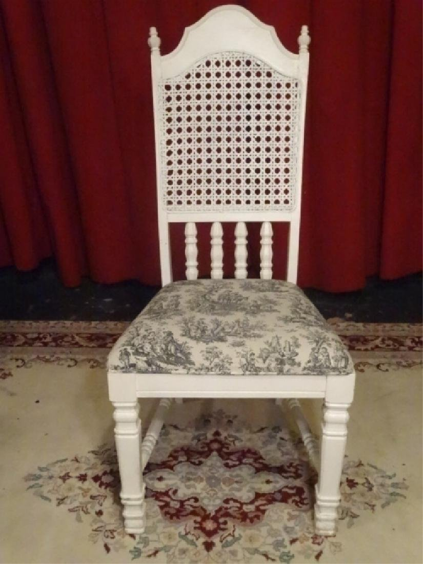 WHITE PAINTED SIDE CHAIR, TOILE BLACK AND WHITE - 4