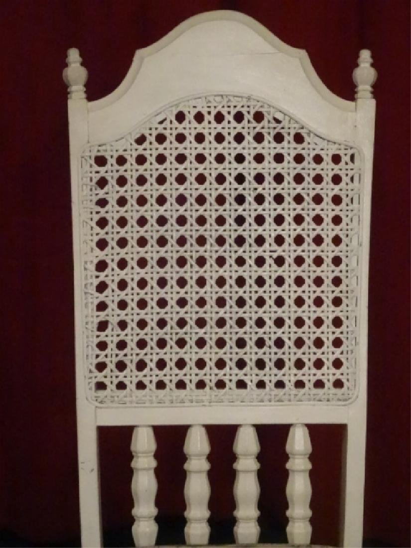 WHITE PAINTED SIDE CHAIR, TOILE BLACK AND WHITE - 6